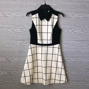 LOFT   Fit and Flare Checkered Dress (Size 4)